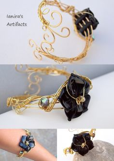 Obsidian gold coloured wire wrapped bracelet by ~IanirasArtifacts on deviantART