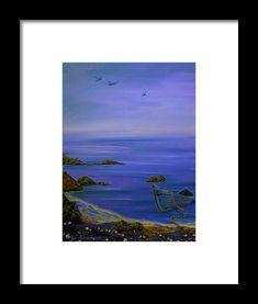 Coastal Framed Print featuring the painting Seaside Boat by Faye Anastasopoulou New Yorker Covers, Ocean Scenes, Artist At Work, Framed Art Prints, Seaside, Fine Art America, Oil On Canvas, Coastal, Original Art