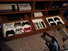 34 Latest Gamer Room Decoration Ideas Gorgeous 34 Latest Gamer Room D… – Game Room İdeas 2020 Video Game Organization, Video Game Storage, Nerd Room, Gamer Room, Home Theater Setup, Home Theater Seating, Boys Game Room, Console Storage, Video Game Rooms