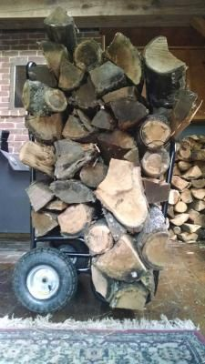 This log cart protects up to 250 lbs. of firewood under a 600D polyester cover. Heavy-duty pneumatic tires allow the cart to move easily over any terrain.