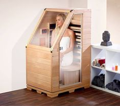 Diy Sauna, Sauna Infrarouge, Sauna Room, Home Spa Room, Spa Rooms, Saunas, Design Sauna, Steam Room Shower, Building A Sauna