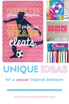 Give the gift of soccer room décor - throw pillows, customized room signs and frames, medal/accessory hangers. Unique gifts for soccer players and fans. Dream Bedroom, Girls Bedroom, Bedroom Ideas, Bedrooms, Bedroom Decor, Soccer Room Decor, Soccer Bedroom, Girls Soccer, Room Signs