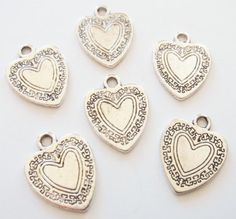 10 Heart Chams double sided 21x16mm by winecharms on Etsy, $2.00