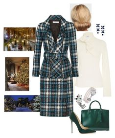 """""""Queen Rose gives a Christmas reception for the castle staff and their children (Winter Castle)"""" by hm-queen-rose ❤ liked on Polyvore featuring Maison Di Prima, Oscar de la Renta, Rochas, Jimmy Choo, Effy Jewelry and Fabergé"""