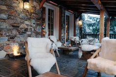 Terrace at Le Lodge Park Hotel in Megeve