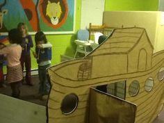 This cardboard Noah's Ark that I made for my Awana preschool class was a great visual aid, and the kids loved getting in it and pretending being their favorite animal.