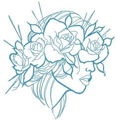 Summer mood machine embroidery design from Girls and Women collection. This design will look adorable on cotton knitted sweater. Bleistift Tattoo, Art Sketches, Art Drawings, Flower Drawings, 3d Templates, Full Sleeve Tattoos, Plant Drawing, Mandala Tattoo, Designs To Draw