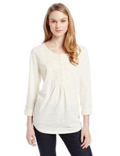 Jones New York Women's Tab Sleeve Crew Neck Henly Shirt with Lace Henleys, Henley Shirts, Working Woman, Long Sleeve Shirts, Crew Neck, Tunic Tops, York, Blouse, Lace