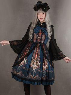 Rococo Lolita Dress JSK Lost In Rococo Silk Lace Up Bow Ruffled Printed Lolita Jumper Skirt