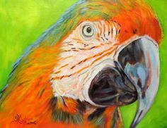 """""""Hey, May Called!"""", an original oil painting of a beautiful and brightly-colored Macaw! sandracutrer.com.  https://www.etsy.com/shop/SandraCutrerFineArt?ref=hdr_shop_menu"""