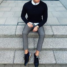 all of it // sneakers, menswear, sweater, white shirt, grey pants, mens style, mens fashion