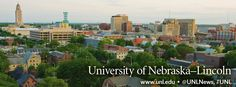 University of Nebraska-Lincoln and downtown Lincoln, pop. 250,000.