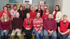 The Library Staff members are wearing red to support heart health awareness for the month of February.