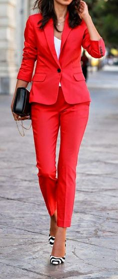 Express Red Print Suit - VivaLuxury -- 60 Stylish Spring Outfits @styleestate