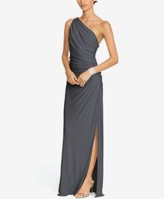 Lauren Ralph Lauren One-Shoulder Brooch Gown