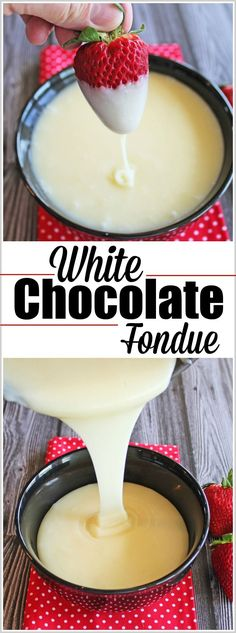 This recipe for White Chocolate Fondue couldn't be easier. It only has three ingredients and tastes like a dream! It's fabulous with strawberries, cinnamon bears, pound cake, dried mang…