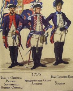 Sardinian Infantry. Left to right: NCO, Piedmont Regt.; Officer, Guards Regt.; Private, Royal Grenadiers Regt.