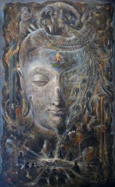 """Transfiguration of Buddha"" by visionary artist, Hikaru Miyakawa (aka Hirata) 宮川 光 画 Sold"