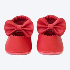 Mosov, Red Bow Leather Shoes - Artisan