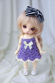 Purple-ecru crocheted dress for PukiFee, Lati Yellow by frezje on Etsy