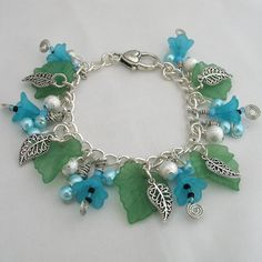 Turquoise Bracelet Lucite Flower Charms Summer by adiencrafts, $19.00