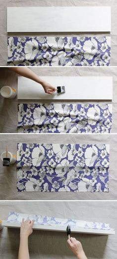 Give those boring shelves a complete makeover with Mod Podge Hard Coat and fabric - this is an easy and budget friendly project!