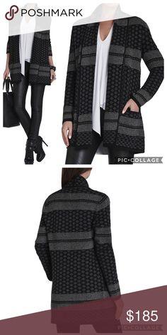 Selling this $289 BCBG MaxAzria Shadia Jacquard Sweater Coat on Poshmark! My username is: rachelsworld. #shopmycloset #poshmark #fashion #shopping #style #forsale #BCBGMaxAzria #Sweaters