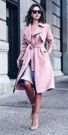 Professional Outfit with Pink Trench Coat fashion fall fashion outfit coat fall outfit winter outfit trench coat work outfit professional outfit. Love this coat!