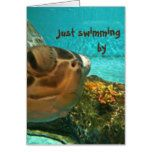 Sea Turtle Swimming By Father's Day Card