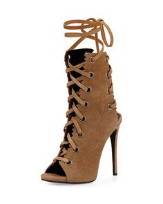 Suede Lace-Up Boot, Taupe by Giuseppe Zanotti at Neiman Marcus.