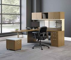 Office Workspace: Exotic Grey Wall Paint Color With Framed Glass Wall Also Wooden Home Office Furniture: