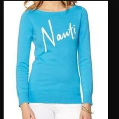 """⚡️1HR SALE⚡️Lilly Pulitzer """"Nauti"""" Sweater Gorgeous blue!  Lightweight cotton. SOLD OUT and retail $98.  SUPER HARD TO FIND Lilly Pulitzer Sweaters Crew & Scoop Necks"""