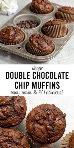 Healthy Chocolate Muffins, Double Chocolate Chip Muffins, Chocolate Muffin Recipes, Chocolate Chips, Eggless Chocolate Muffins Recipe, Vegan Treats, Vegan Foods, Gourmet Foods, Vegan Dessert Recipes