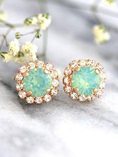 Mint Earrings Mint Opal Earrings Christmas Gifts by iloniti Mint Earrings, Glass Earrings, Crystal Earrings, Etsy Earrings, Crystal Jewelry, Bridesmaid Earrings, Bridal Earrings, Bridesmaids, Swarovski