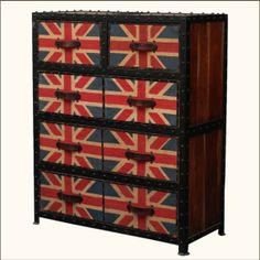Union Jack Reclaimed Wood Iron Canvas & Leather Dresser Chest