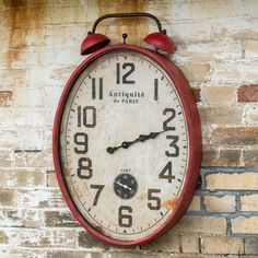 RED WALL MOUNT TWO BELL CLOCK