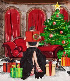 weihnachten illustration The Christmas Book Art Print by Sara Eshak Merry Christmas, Christmas Books, Vintage Christmas Cards, Christmas Holidays, Christmas Decorations, Xmas, Illustration Noel, Christmas Illustration, Illustration Artists