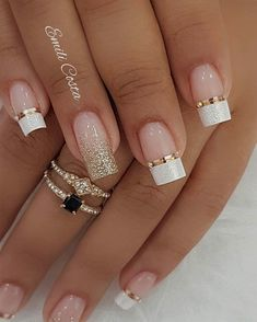 100 Beautiful wedding nail art ideas for your big day - wedding nails bride nails nail art romantic nails pink nails Simple Nail Art Designs, Winter Nail Designs, Acrylic Nail Designs, French Manicure Nails, French Nails, Diy Nails, Perfect Nails, Gorgeous Nails, Pretty Nails