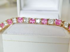 14K Gold Sterling Silver Emerald Cut Natural Ruby White Zircon Tennis Bracelet #Designer #Tennis