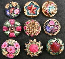 Collection of 9 Czech ANTIQUE (1920's) Glass Buttons #G360 - RARE !!!!!!!!!!!!!