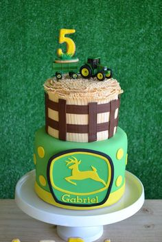 John Deere tractor birthday party cake! See more party ideas at CatchMyParty.com!
