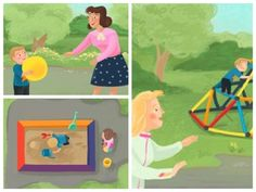 Hot Dot Tots A Day at the Park - Livia Coloji #tots #toddlers #babies #children  #park #play #childrensbook #illustration #kidlitart #liviacoloji