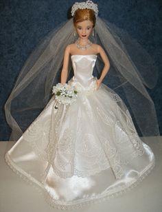 """UNIQUE fait à la main de 11.5"""" mode poupée tenue de mariée--poupée inclus                                                                                                                                                                                 Plus"""