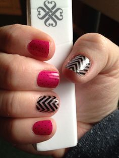 Jamberry Nail wraps. Magenta & Black Polka with Black Chevron as an accent. http://lauriecantu.jamberrynails.net