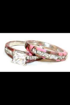 Camo pink wedding bands