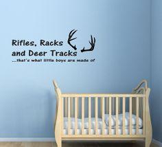 Rifles, Racks and Deer Tracks… Vinyl Wall Decal.