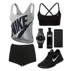 Cute, black and gray volleyball workout clothes :) #Nike #fitspo #fitspiration I love workout clothes!