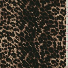 Beige, cocoa brown, brown and black cheetah print. This dress weight woven polyester fabric has a crisp hand a soft, sanded feel.Compare to $10.00/yd
