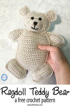 This fast and simple crochet teddy bear is the perfect gift for baby! Use less than one skein of yarn to make this cute ragdoll amigurumi cuddler. This free crochet pattern includes 2 different size options. #crochet #amigurumi #teddybear