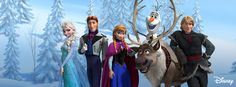 principais personagens da animação Frozen - uma aventura congelante.
